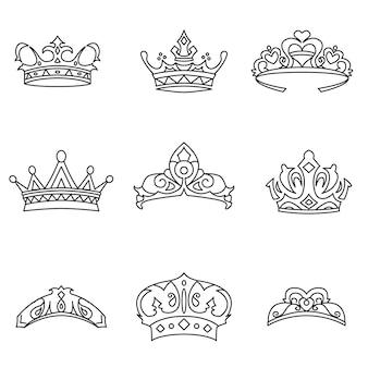クラウンベクトルセット。シンプルな王冠の形のイラスト、編集可能な要素、ロゴデザインで使用できます