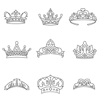 Crown vector set. simple crown shape illustration, editable elements, can be used in logo design