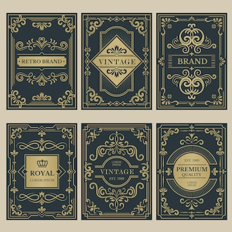 Crown vintage cards. royal victorian style posters with floral calligraphic elements borders dividers corners vector templates. premium quality card, vignette to wedding or certificate illustration