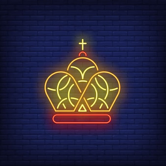 Crown with cross neon sign
