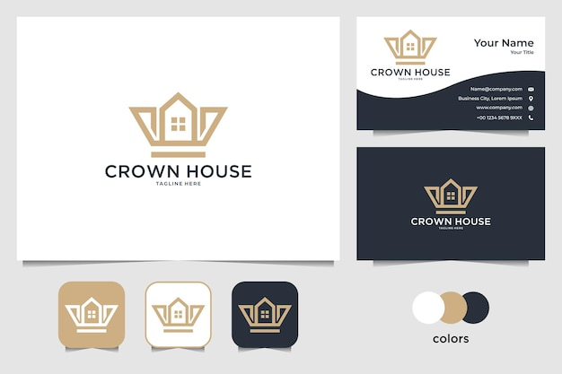 Crown with home logo design and business card