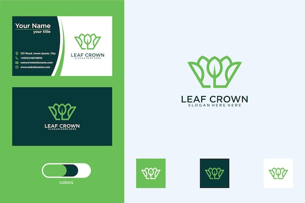 잎 디자인 로고와 명함이 있는 왕관