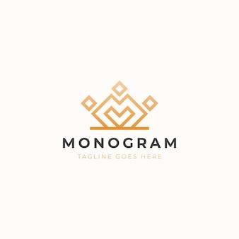 Корона с буквой m вензель концепция логотипа шаблон