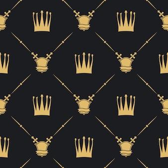 剣と盾のシームレスなパターンの王冠。装飾の背景、