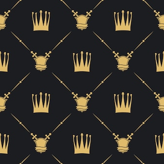 Crown with sword and shield seamless pattern. decoration background,