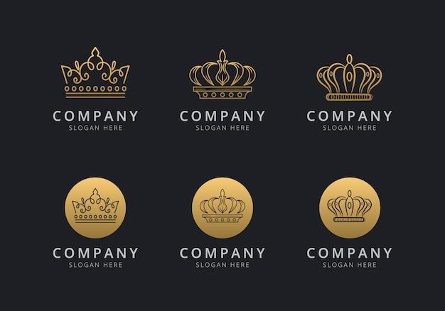 Шаблон логотипа crown с золотистым стилем для компании