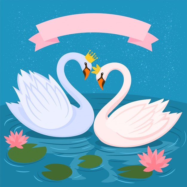 Crowned swans, water lily and leaves