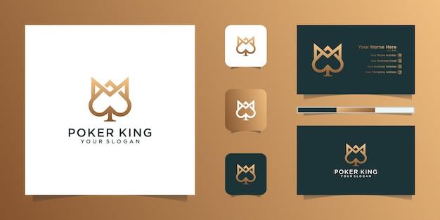ポーカーと名刺にインスピレーションを与えるスペードの王冠とエース Premiumベクター