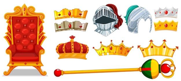 왕관과 기사 헬멧