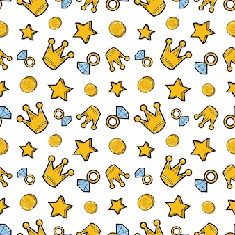 Crowns diamonds and money seamless pattern. fashion background in retro comic style.  illustration