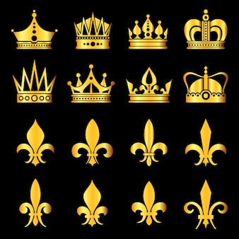 Crowns in gold black