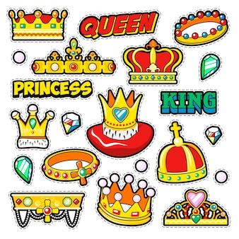 Crowns golden decorative elements for scrapbook, stickers, patches, badges.  doodle