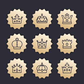 Crowns line icons