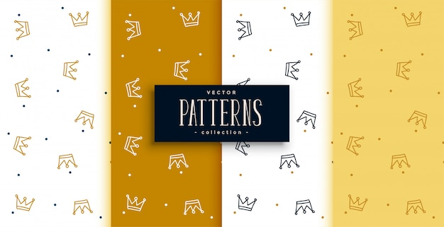 Crowns patterns set in golden  design