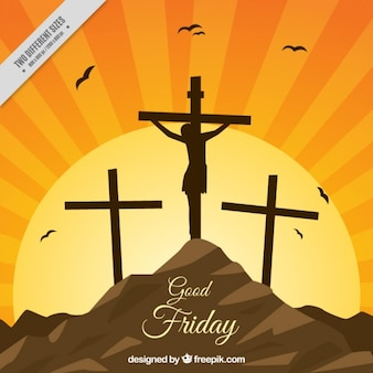 Crucifixion against the light background