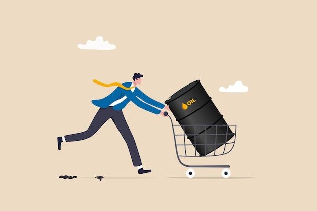 원유 투자, 이익, 연료, 전력 또는 에너지 회사 개념을 만들기 위해 석유 주식을 구입하고, 쇼핑 카트 트롤리에서 원유 갤런을 구입하는 사업가 투자자.