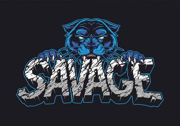 Cruel black panther holding savage word