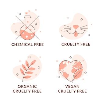 Иллюстрированный набор значков без жестокости