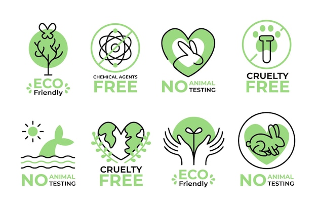 Cruelty free badges illustrated set