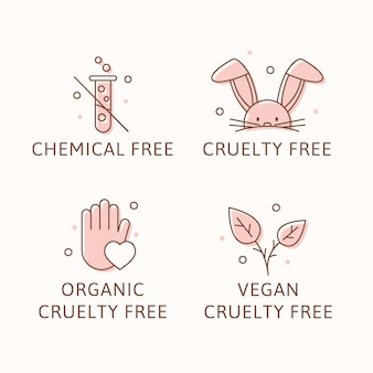 Distintivi cruelty free illustrati