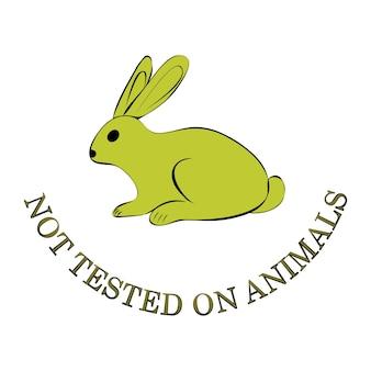 Произведены без насилия сделаны с любовью. не тестировался на животных. зеленый символ кролика с буквами не тестировался на животных. значок для продукции, не тестируемой на животных. значок с кроликом на белом фоне