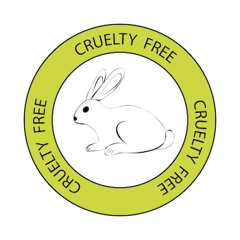 Cruelty free. rabbit symbol with lettering cruelty free around. icon with lettering not tested on animals. vegan, cruelty free, organic and natural stamp. vector illustration