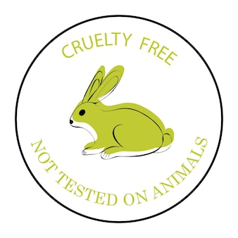 Cruelty free. not tested on animals. green rabbit symbol with lettering cruelty free. an icon for productions, what is not tested on animals. an icon with a rabbit isolated on white background. vector