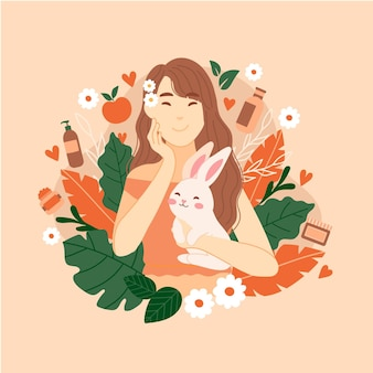 Cruelty free and vegan illustration with character