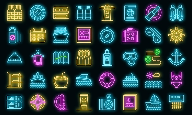 Cruise icons set. outline set of cruise vector icons neon color on black