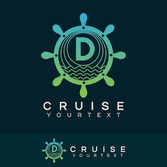 Cruise initial letter d logo design