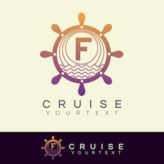 Cruise initial letter f logo design