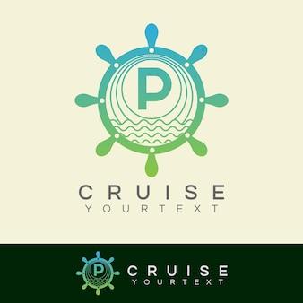Cruise initial letter p logo design