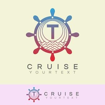 Cruise initial letter t logo design