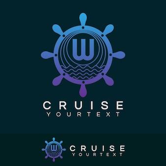 Cruise initial letter w logo design
