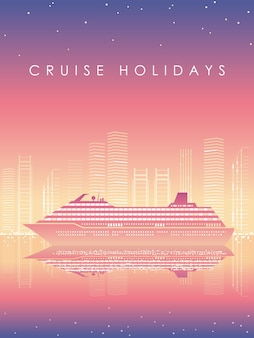 Cruise liner and cityscape at dusk with text space