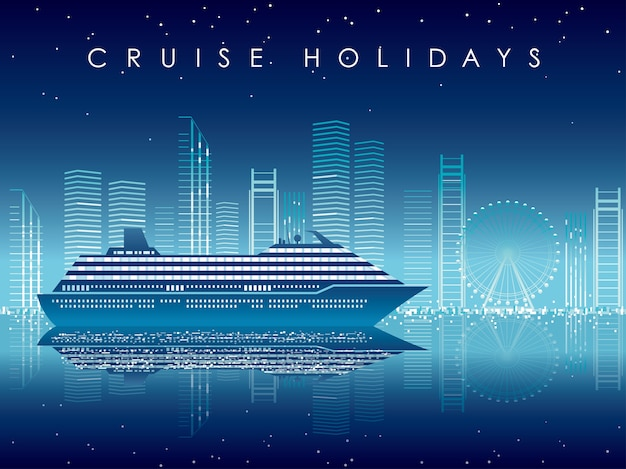 Cruise liner and cityscape at night with text space