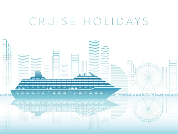 Cruise liner and cityscape with text space