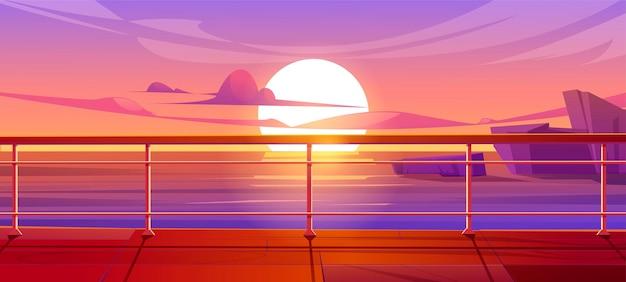 Ponte o banchina della nave da crociera con vista sul mare al tramonto