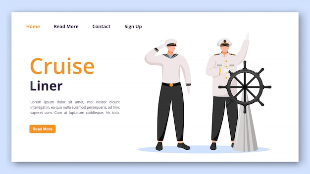 Cruise liner landing page vector template. captain and sailor website with flat illustrations. website design
