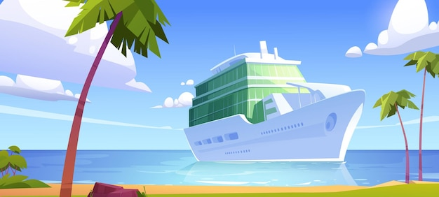 Cruise liner in ocean modern white ship luxury sailboat moored in sea harbor tropical island