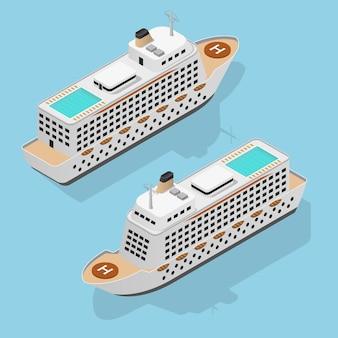 航海旅行のためのクルーズライナーセットアイソメビューラグジュアリーボート