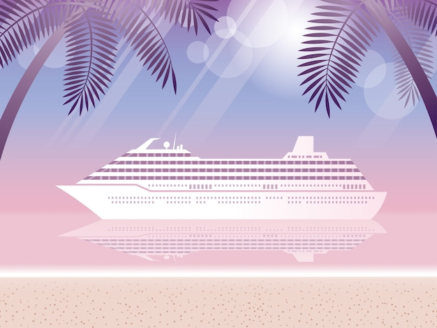 Cruise liner and tropical resort
