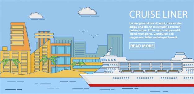 Cruise liner vector horizontal banner