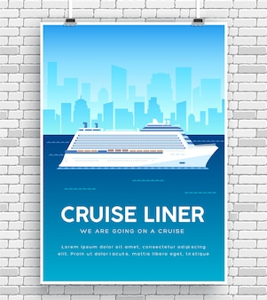 Cruise liner on water icon poster on brick wall