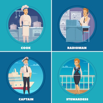 Cruise liner yacht ship crew characters 4 cartoon icons square with captain cook radioman isolated