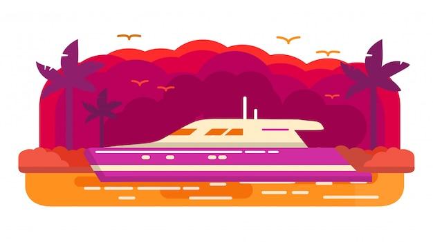 豪華なヨット船をクルーズします。夏の海洋旅行。ヤシの木の熱帯の島。海の航海。バナーのコンセプト。