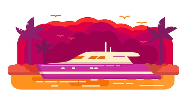 Cruise luxury yacht ship .summer marine travel.tropical island of a palm tree. sea voyage.banner concept.landscape sunset