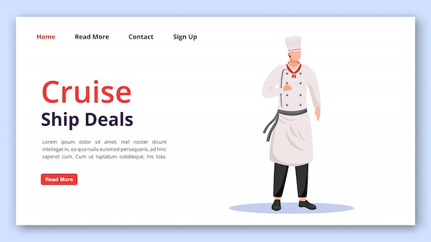 Cruise ship deals landing page vector template. shipboard staff website interface idea with flat illustrations. ship chef homepage layout. cruise service landing page