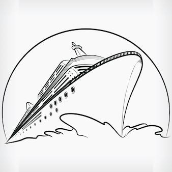Cruise ship doodle ocean liner sketch