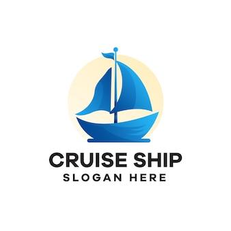 Cruise ship gradient logo design
